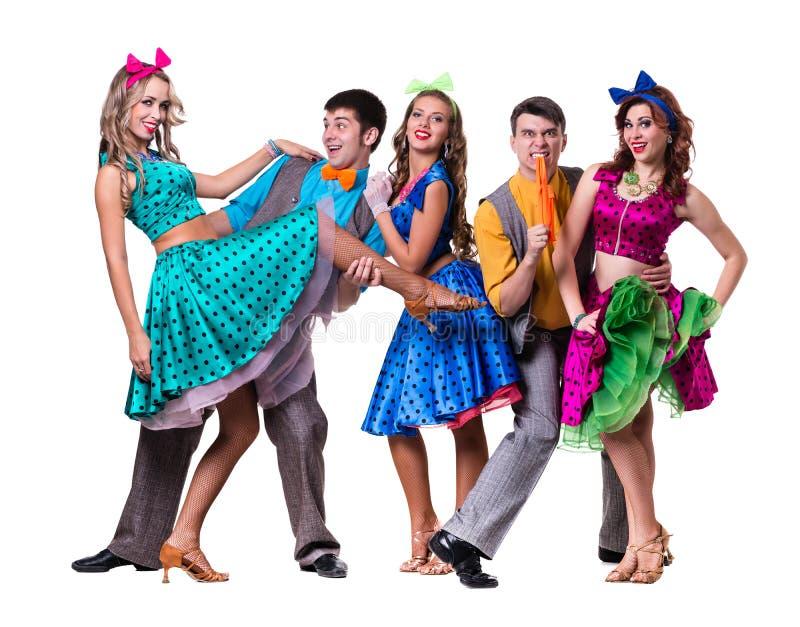 Танцы команды танцора кабара Изолировано на белизне стоковые изображения
