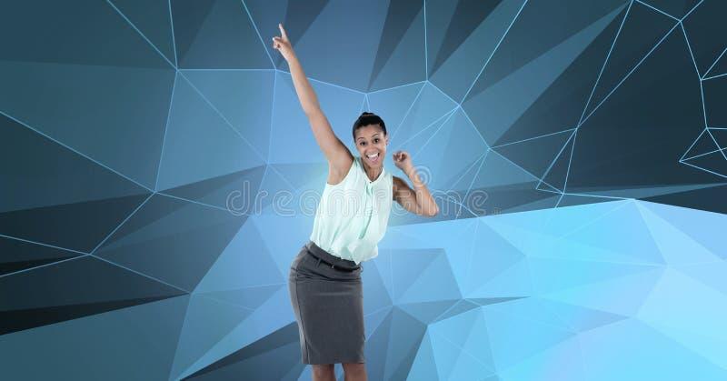 Танцы коммерсантки с формами полигона стоковые фотографии rf