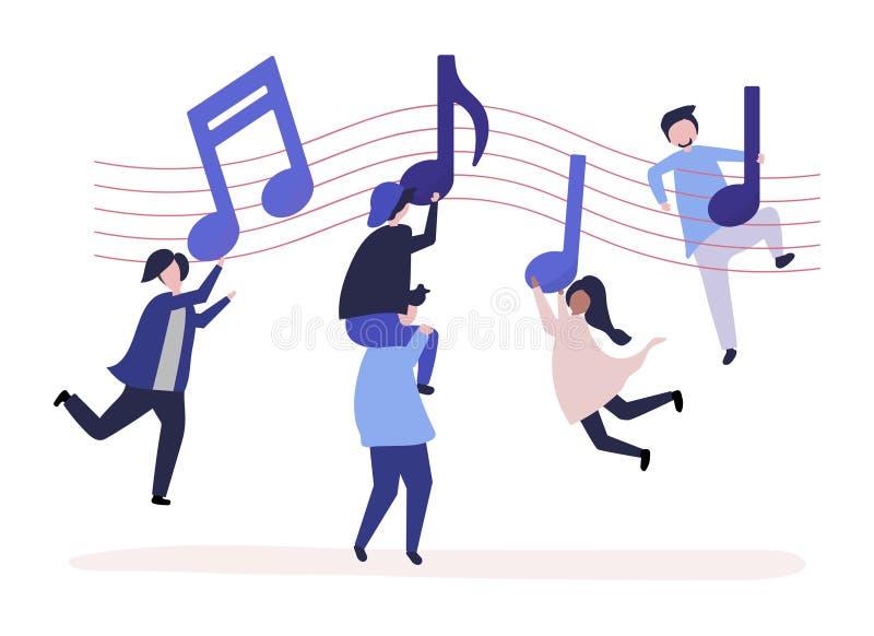 Танцы людей к музыке с музыкальными примечаниями плавая в воздух иллюстрация штока