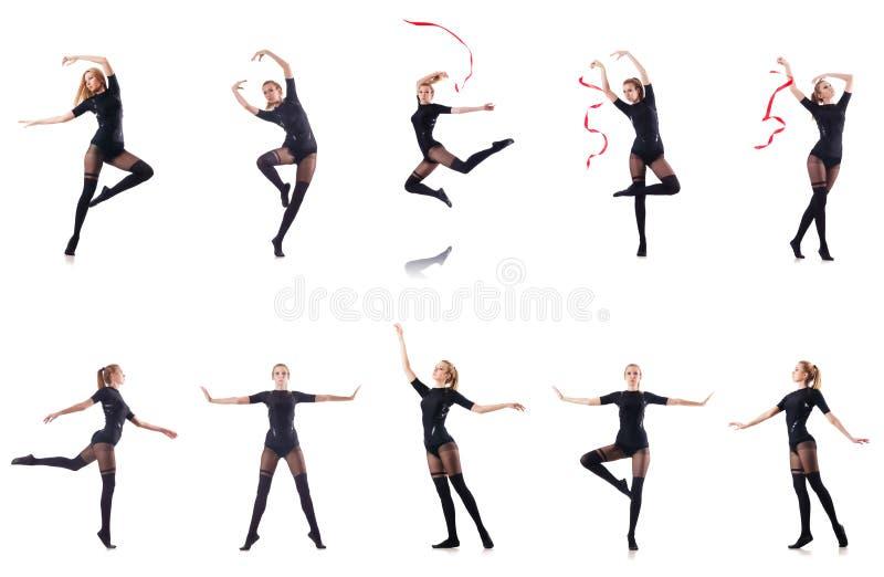 Танцы молодой женщины на белой предпосылке стоковое изображение rf
