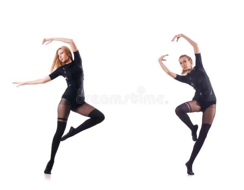 Танцы молодой женщины на белой предпосылке стоковые фотографии rf