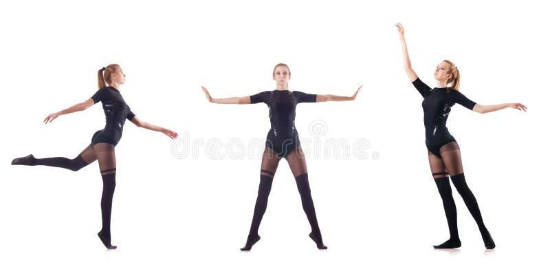 Танцы молодой женщины на белой предпосылке стоковые изображения