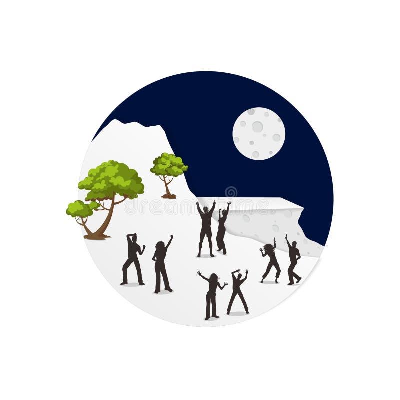 Танцы на луне иллюстрация штока