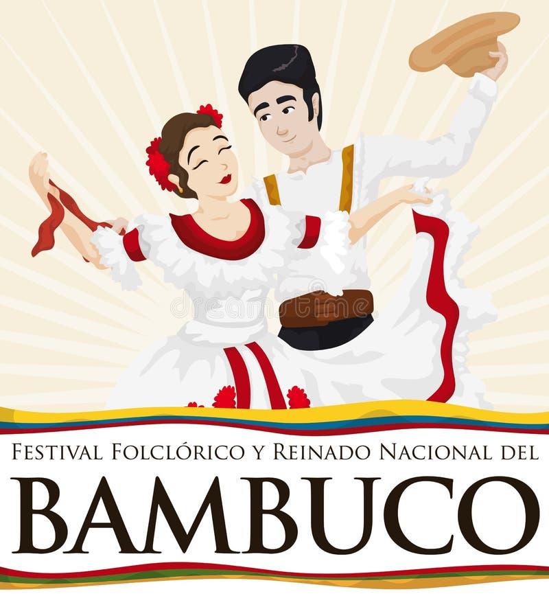Танцы пар с традиционными костюмами колумбийским Bambuco для Folkloric фестиваля, иллюстрации вектора иллюстрация штока