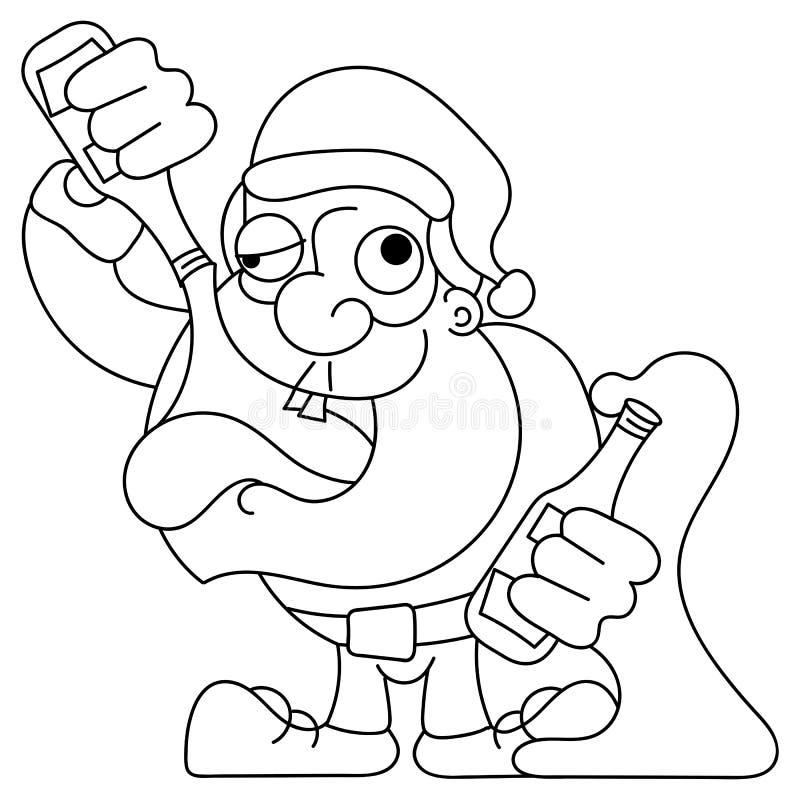 Танцы Санта и выпивая мультфильм вектора - пьяный Клаус держа бутылку шампанского иллюстрация штока