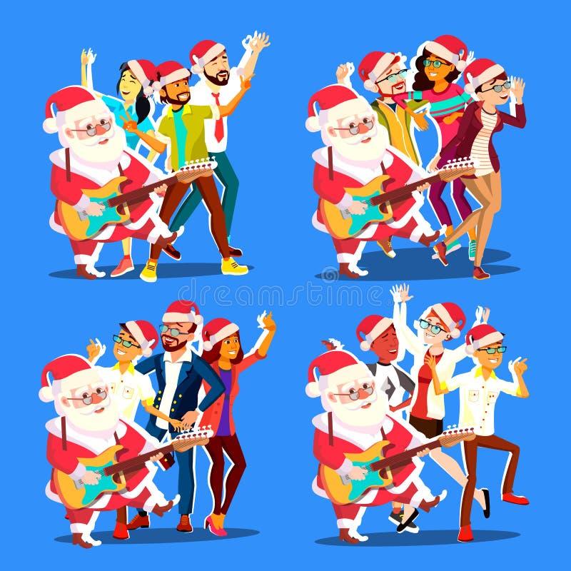 Танцы Санта Клауса с группой людей и гитарой в руках Положительные люди и женщины потеха танцы имея Рождество иллюстрация штока