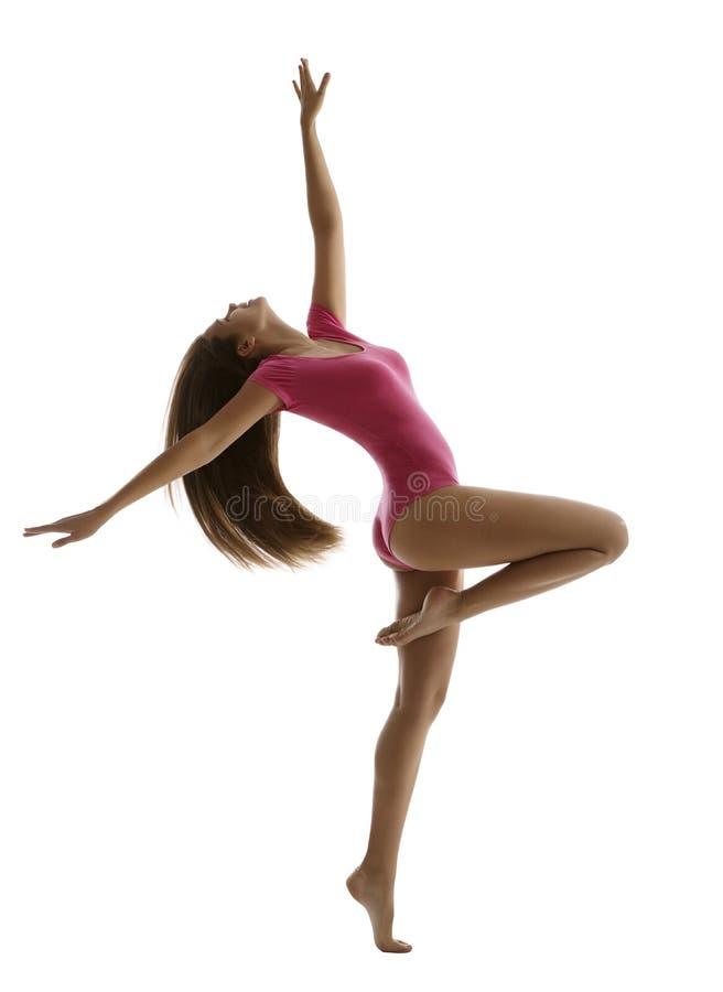 Танцы спорта женщины, танцор фитнеса девушки, молодой гимнаст стоковое фото rf