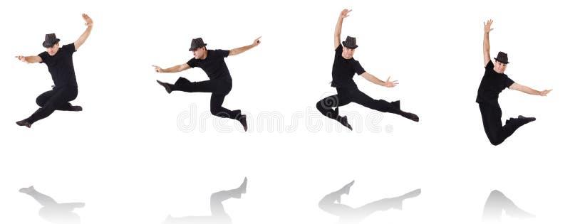 Танцы танцора на белизне стоковые изображения