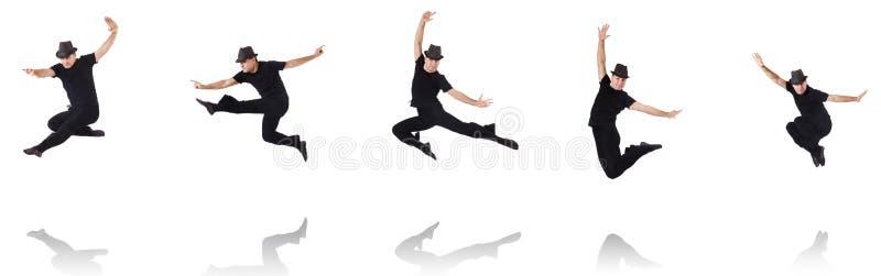Танцы танцора на белизне стоковые фото