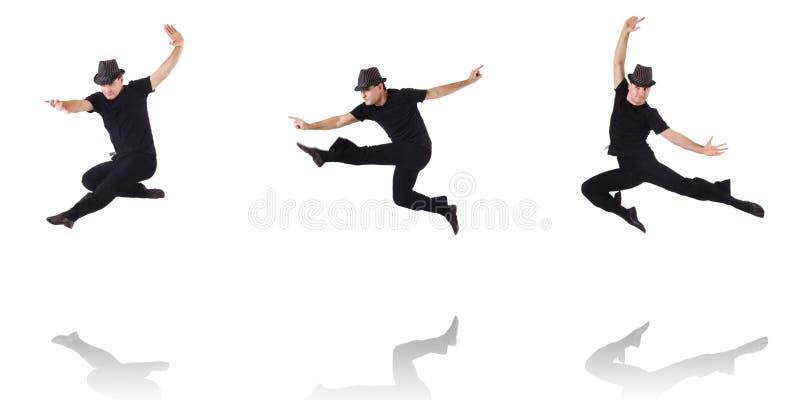 Танцы танцора на белизне стоковое фото