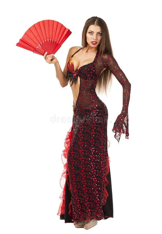 Танцы танцора фламенко женщины традиционные испанские в красном платье стоковые фотографии rf