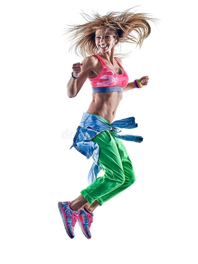 Танцы танцора zumba excercises фитнеса женщины стоковая фотография rf