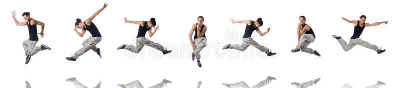 Танцы человека изолированные на белизне стоковое изображение rf