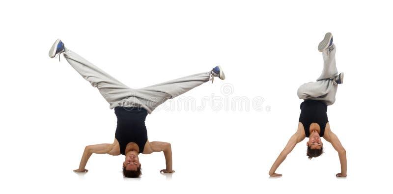 Танцы человека изолированные на белизне стоковые изображения