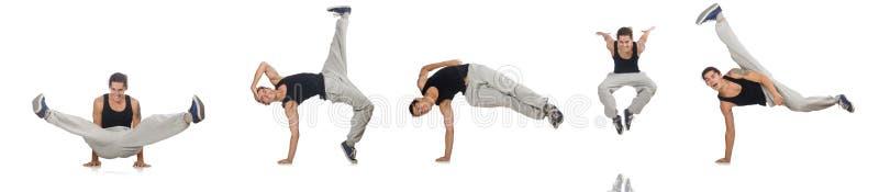 Танцы человека изолированные на белизне стоковые изображения rf