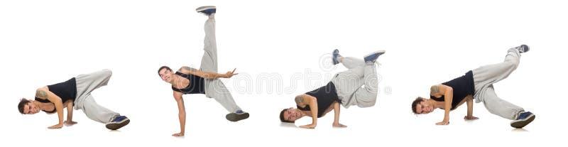 Танцы человека изолированные на белизне стоковое фото rf