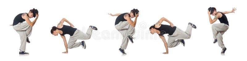 Танцы человека изолированные на белизне стоковое фото