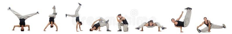 Танцы человека изолированные на белизне стоковое изображение