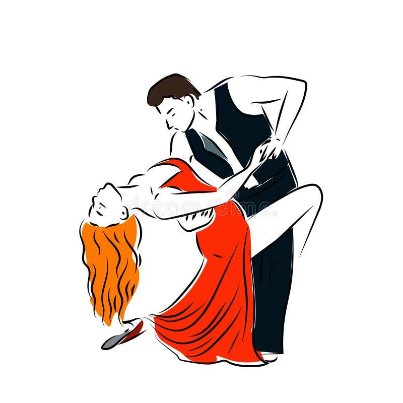 Танцы человека и женщины соединяют линию искусство танго ретро Танцы человека и женщины соединяют линию искусство танго ретро бесплатная иллюстрация