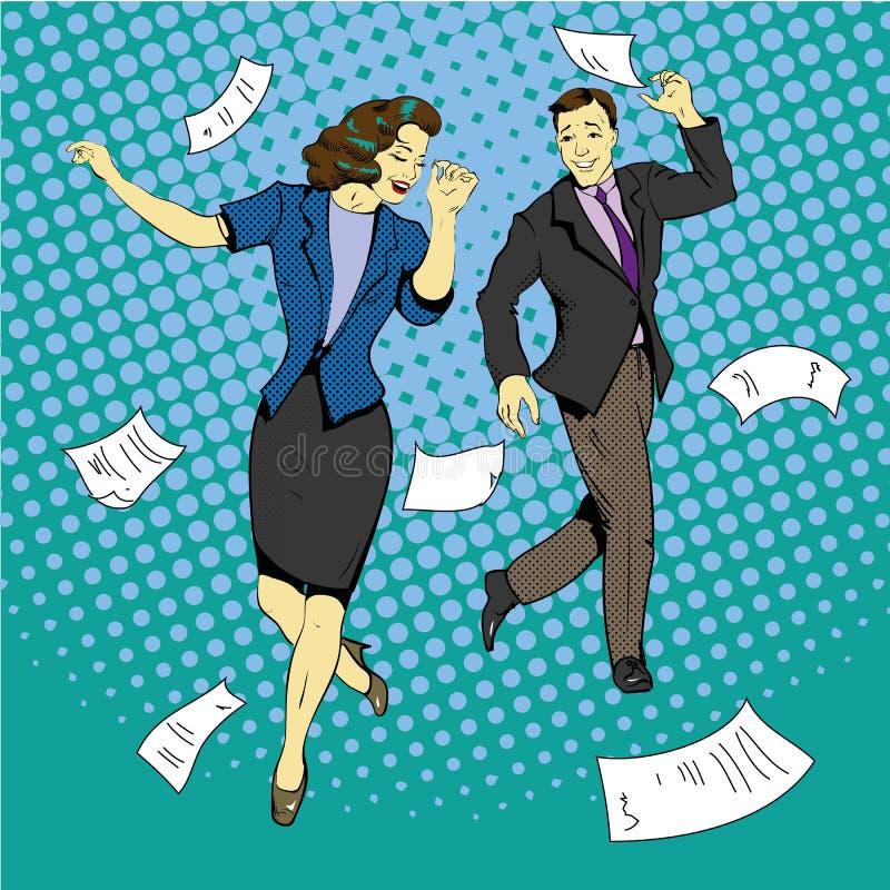 Танцы человека и женщины при печатные документы летая вокруг иллюстрация штока
