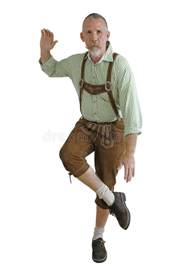 Танцы человека Octoberfest стоковая фотография rf