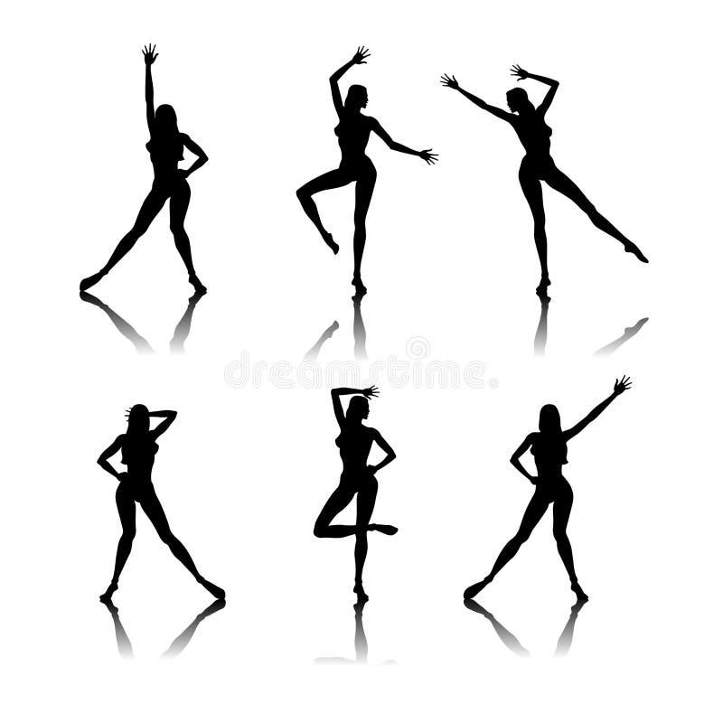 танцы silhouettes женщины иллюстрация штока