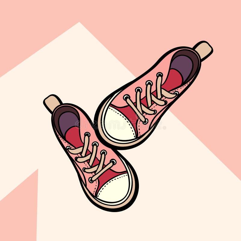 Тапки живя изолированные пары ботинок коралла обнаженные розовые Ботинки иллюстрации руки вычерченные Ботинки спорта для логотипа иллюстрация штока