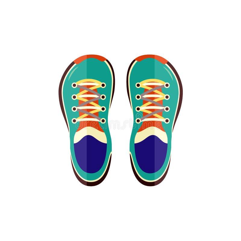 Тапки резвятся взгляд сверху ботинок для тренировки или идти изолированного на белой предпосылке иллюстрация штока