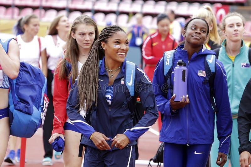 ТАРА DAVIS США на большом скачке в Тампере, Финляндии 9-ое июля 2018 Чемпионаты мира U20 IAAF стоковое фото rf