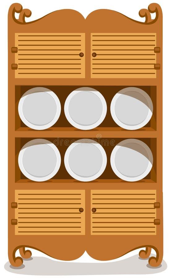 тарелки кухонного шкафа иллюстрация штока