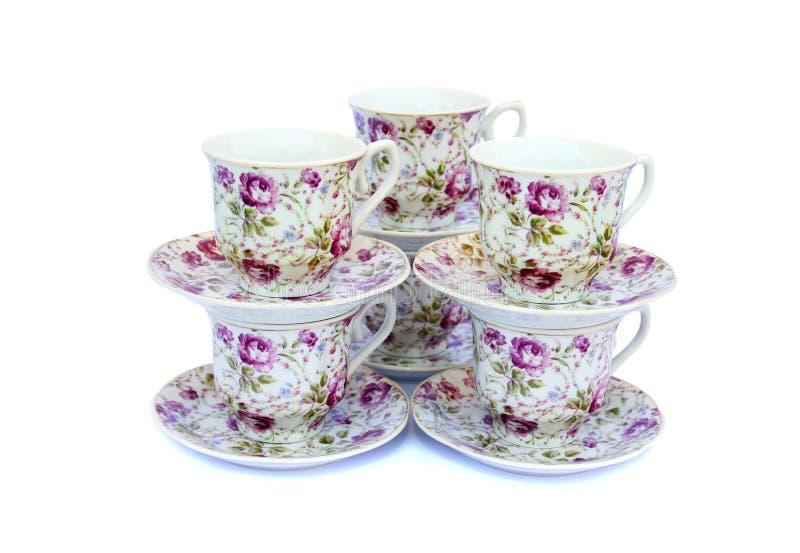 тарелки чашек стоковое фото