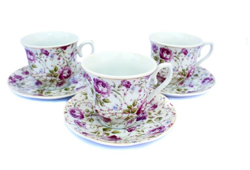 тарелки чашек стоковое фото rf