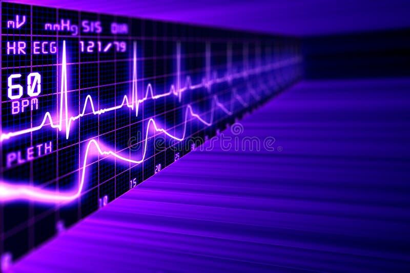 Тариф сердца с диаграммой ECG в виртуальном пространстве бесплатная иллюстрация
