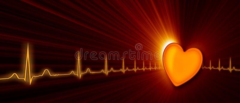 Тариф сердца с диаграммой ECG в виртуальном пространстве иллюстрация штока