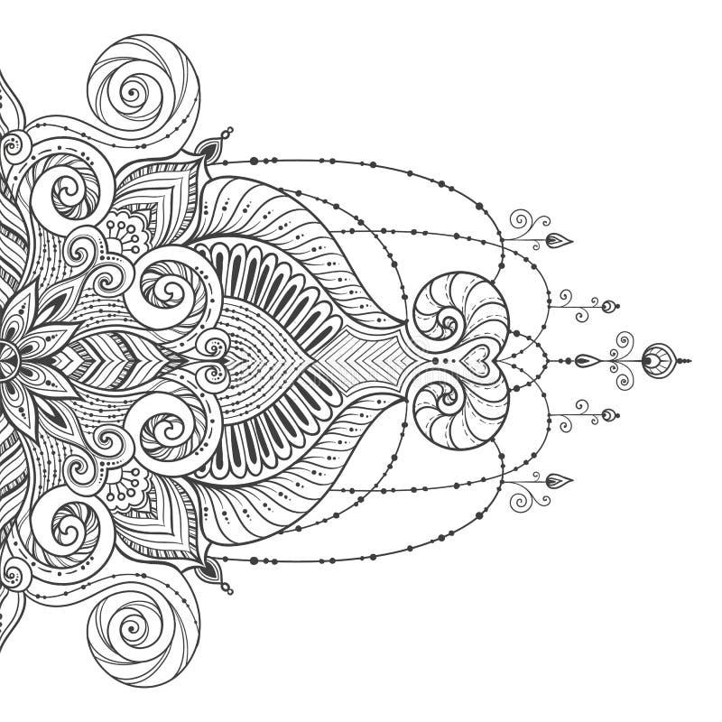 Татуировка вектора мандалы Совершенная карточка на дизайн, день рождения и другой праздник иллюстрация штока