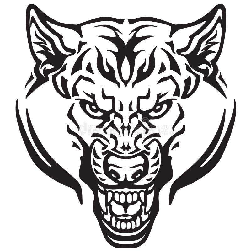 Татуировка волка головная черно-белая иллюстрация вектора