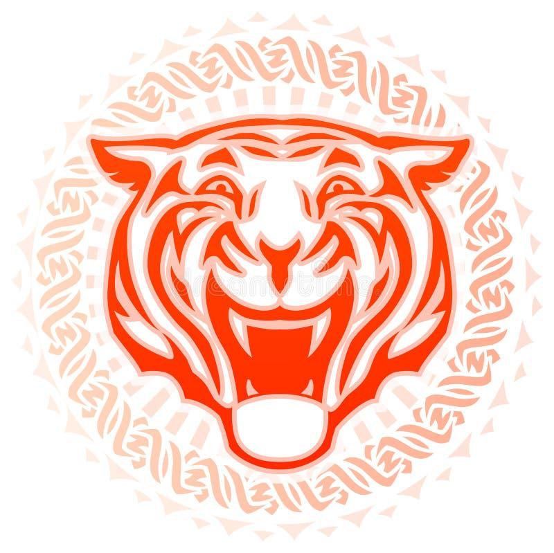 Татуировка главного вида спереди реветь тигра круговая иллюстрация штока