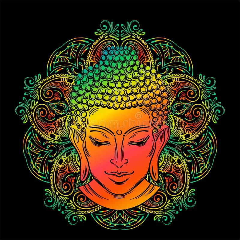 Татуировка головы ` s Будды иллюстрация вектора