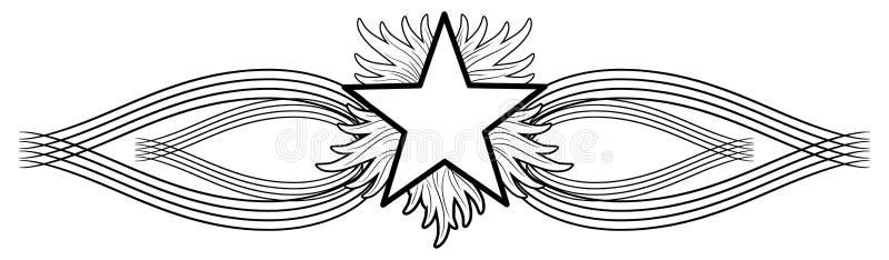 Татуировка звезды пылать на черном изолированном украшении бесплатная иллюстрация