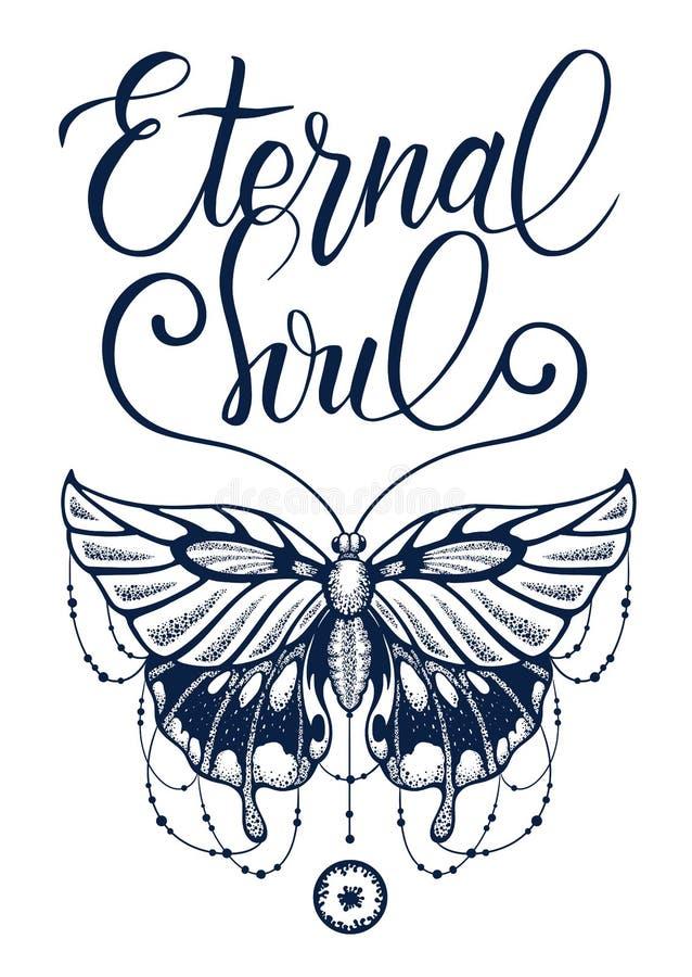 Татуировка Красивая, который подогнали бабочка украшенная со стренгами шариков и элегантной каллиграфии Дизайн футболки иллюстрация штока