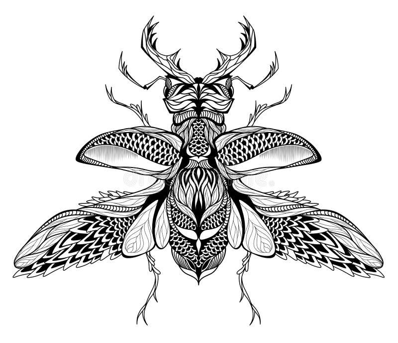 татуировка Рогач-жука психоделический, стиль zentangle иллюстрация вектора