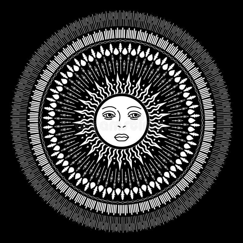 Татуировка солнца вектора иллюстрация вектора