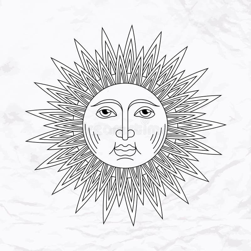 Татуировка солнца вектора иллюстрация штока