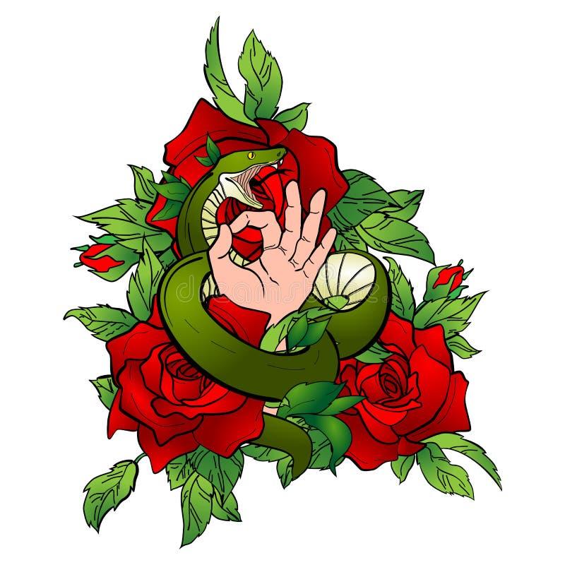 Татуировка с змейкой и рукой бесплатная иллюстрация