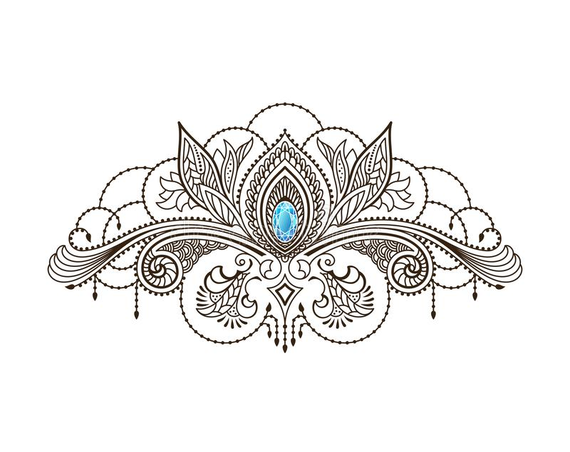 Татуировка хны вектора под грудью девушки Картина Mehndi флористическая восточная иллюстрация штока