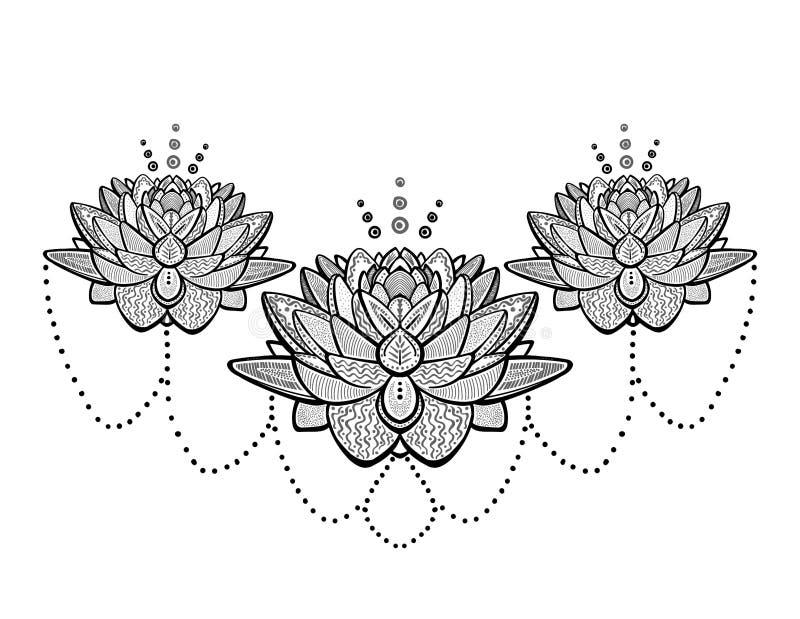 Татуировка цветков лотоса орнаментальная бесплатная иллюстрация