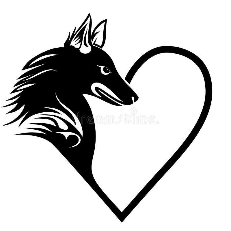 Татуировка любимчика влюбленности сердца собаки бесплатная иллюстрация