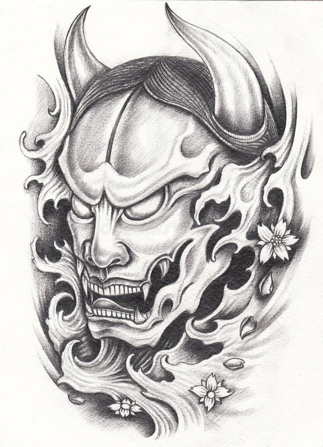 Татуировка японца Kabuki иллюстрация штока