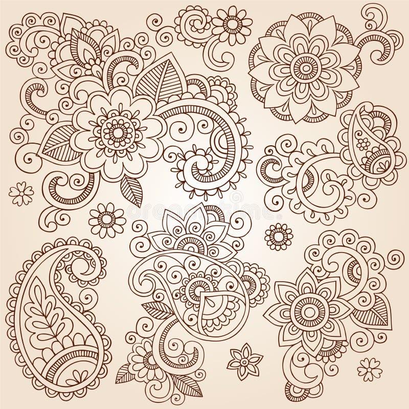 Татуировка Illustr вектора цветков Mehndi Пейсли хны иллюстрация вектора