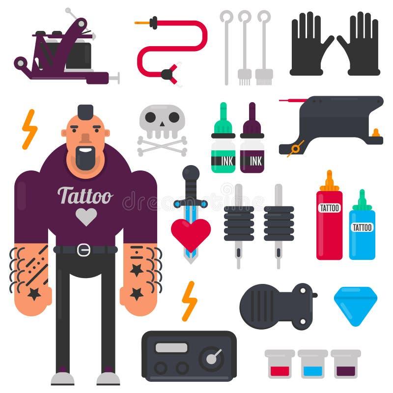 Татуируйте мастерские и татуируя установленные значки вектора инструментов иллюстрация штока